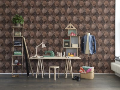 Murale R14122 Leather Rhombs, Vintage ​​immagine 1 di Rebel Walls