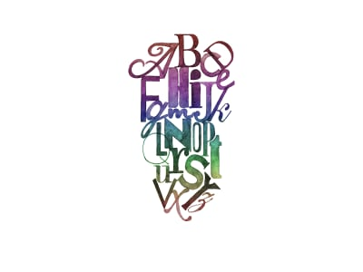 Fototapet R12492 Ink Letter, rainbow imagine 1 de Rebel Walls