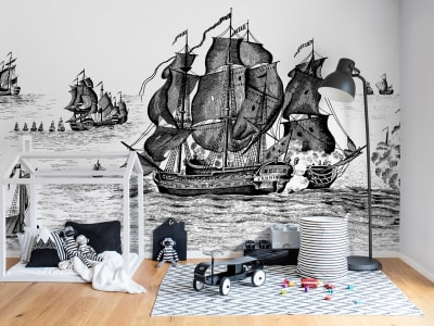 Mural de pared R14501 High Seas, Black imagen 1 por Rebel Walls