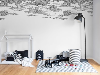 Mural de pared R14511 Cotton Skies, Black imagen 1 por Rebel Walls