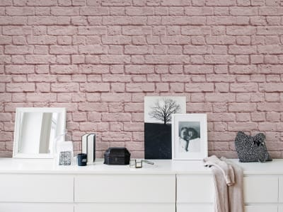Tapet R14873 Soft Bricks, Pink bilde 1 av Rebel Walls