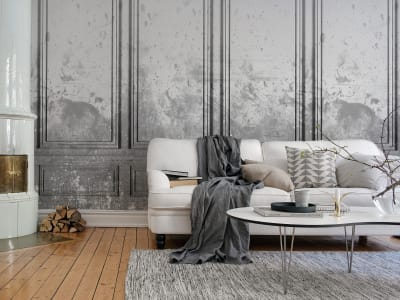 Wall Mural R15383 PATINATED PANELS, SMOKE image 1 by Rebel Walls