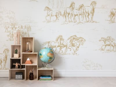 ミューラル壁紙 R15592 HORSE HERD, GOLD 画像 1 by Rebel Walls