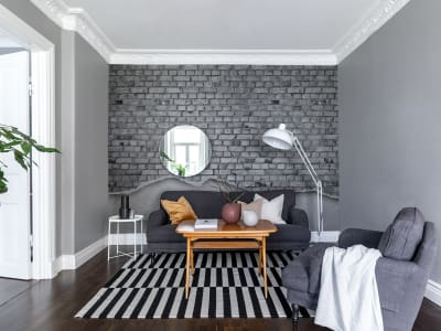 Tapet R12224 Well-Worn Brick Wall, white bilde 1 av Rebel Walls