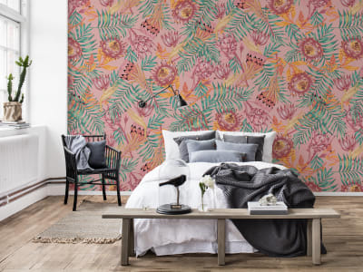 Mural de pared R16552 Desert Flower, Pink imagen 1 por Rebel Walls