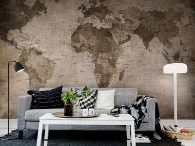 Fototapet R10772 World Map, brown imagine 1 de Rebel Walls