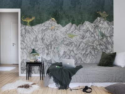 Mural de pared R16992 Dinosaur Mountain, Nightfall imagen 1 por Rebel Walls