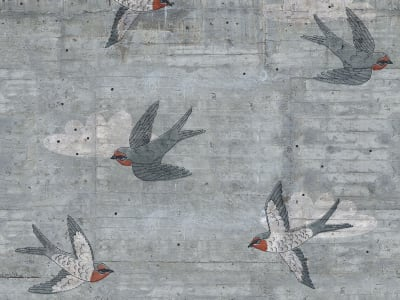 ミューラル壁紙 R16971 Concrete Art, Swallow 画像 1 by Rebel Walls