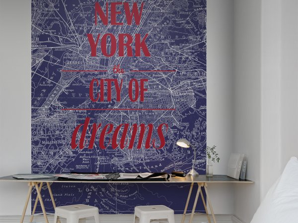 Tapete R10902 Map of Dreams, blue Bild 1 von Rebel Walls