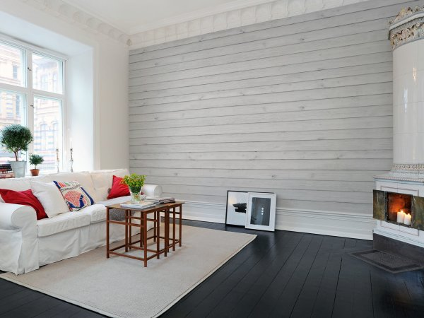 Tapete R12582 Horizontal Boards, white Bild 1 von Rebel Walls