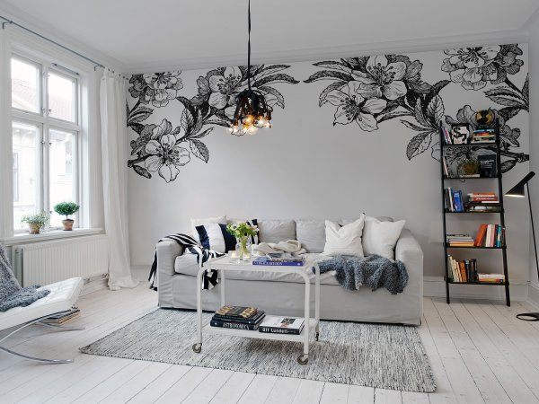 Tapete R12654 Springtime Double, black & white Bild 1 von Rebel Walls