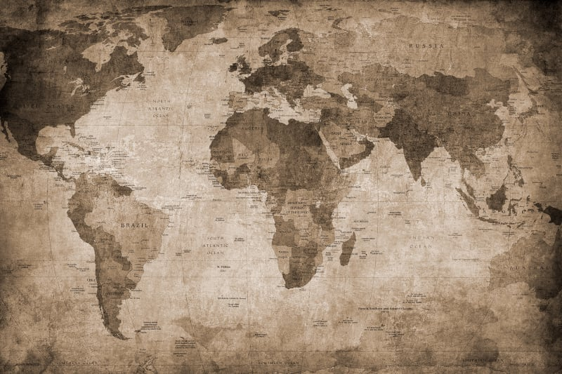 World Map Wallpaper Adelaide.  World Map brown R10772 Rebel Walls EN AU