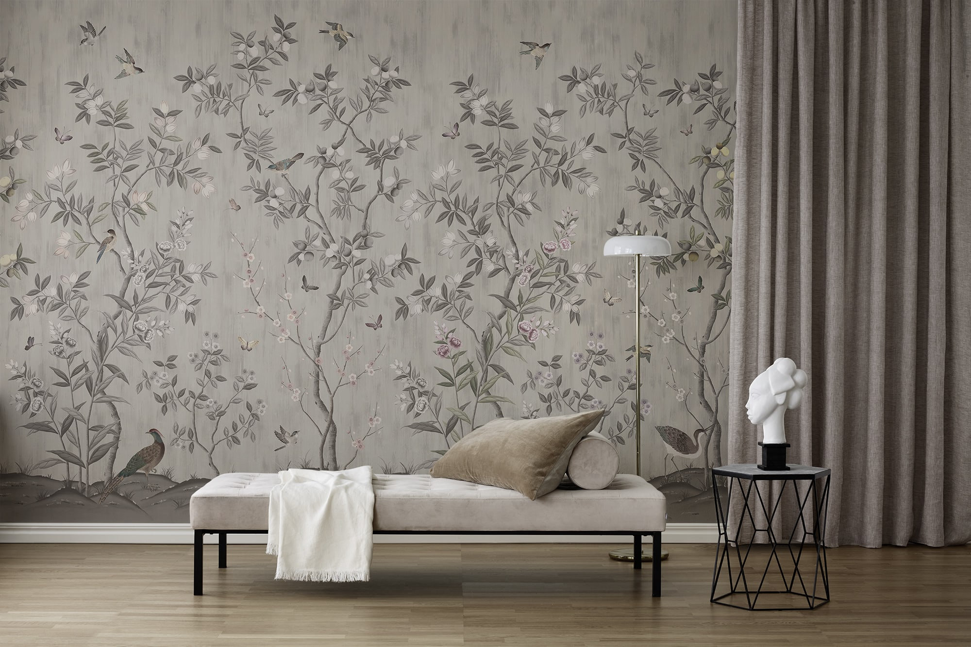 Lush Far East foliage and swirling butterflies