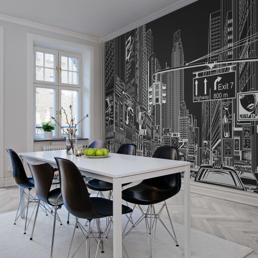 Wall Mural R10622 Cartoon City, black image 1 by Rebel Walls