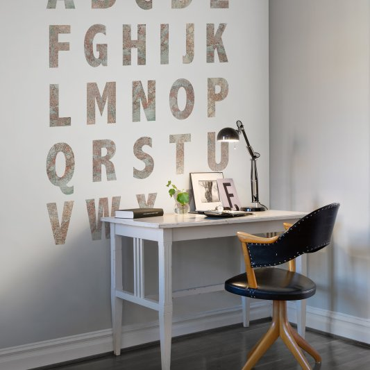 Wall Mural R10891 Map Alphabet image 1 by Rebel Walls