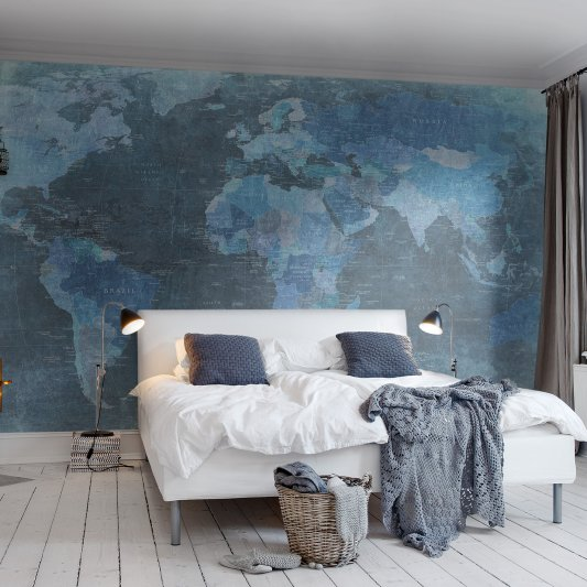Tapete R10773 World Map, blue Bild 1 von Rebel Walls
