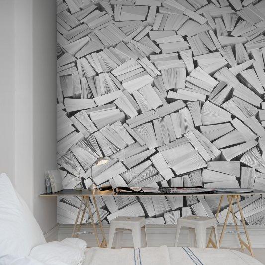 Tapete R11513 Books, white Bild 1 von Rebel Walls