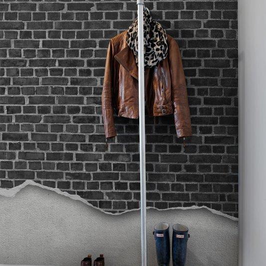 Tapete R12222 Well-Worn Brick Wall, black Bild 1 von Rebel Walls