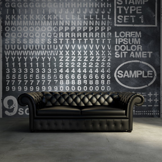 Tapete R12261 Rubber Stamp, black Bild 1 von Rebel Walls