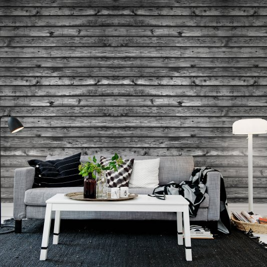 Tapete R12584 Horizontal Boards, black Bild 1 von Rebel Walls