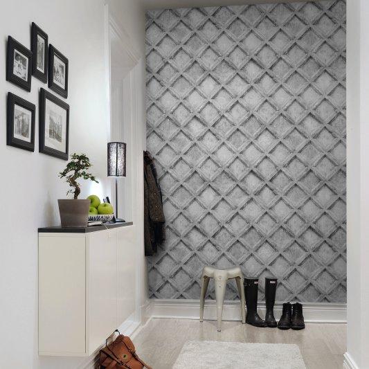Tapete R12782 Concrete Trellis, grey Bild 1 von Rebel Walls