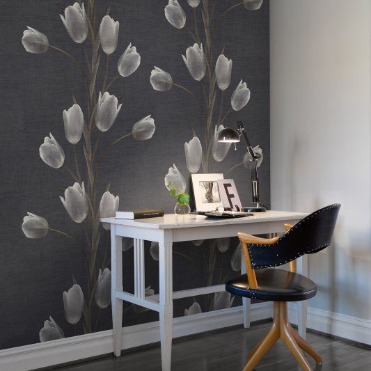 Wall Mural R13061 La Vie En Tulipe, Black image 1 by Rebel Walls