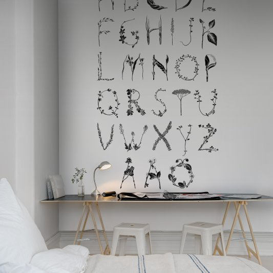 Wall Mural R13194 ABC for the Swedish bee, Black image 1 by Rebel Walls