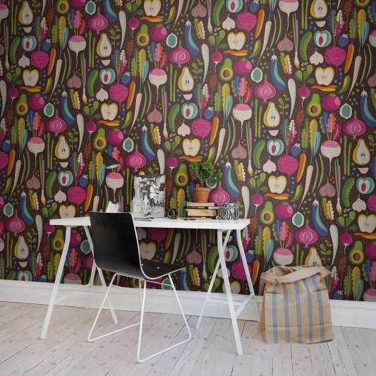 Wall Mural R50801 Fruits & Roots, Black image 1 by Rebel Walls