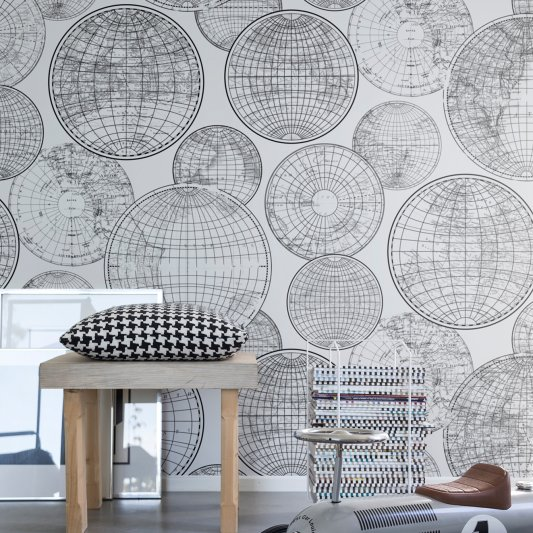 Tapete R13882 Globes Gathering, Black and white Bild 1 von Rebel Walls