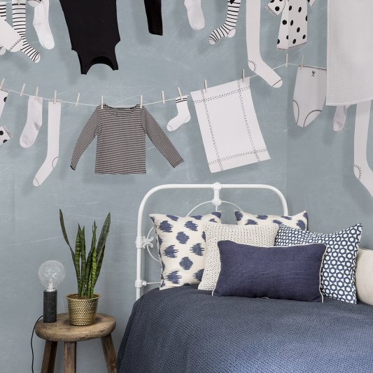 Wall Mural R14442 Laundry Day, Blue image 1 by Rebel Walls