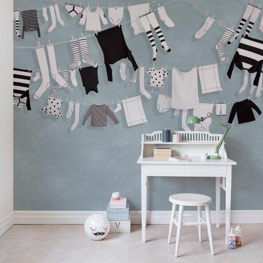 Tapete R14442 Laundry Day, Blue Bild 1 von Rebel Walls