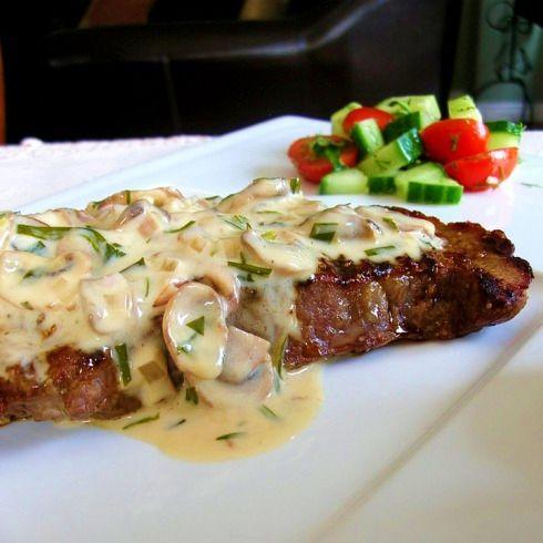 Grilled Steak (Florentine) w/ Mushroom Tarragon Cream Sauce