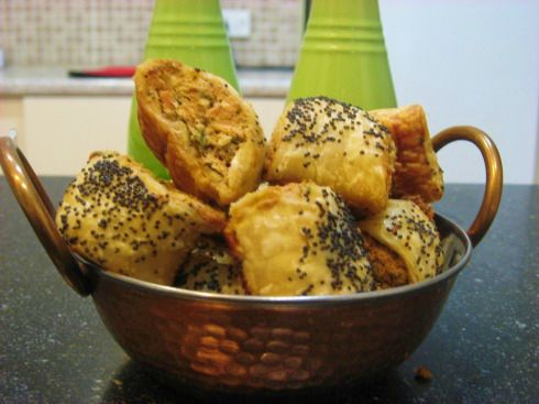 Wasabi, Chive and Salmon Sausage rolls
