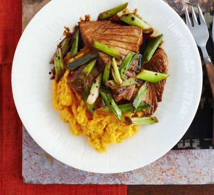 Seared soy tuna steaks with spring onions & a ginger sweet potato mash