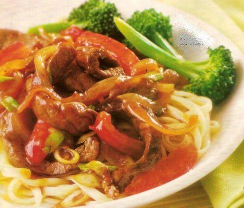 Beef (or pork) tomato stir fry