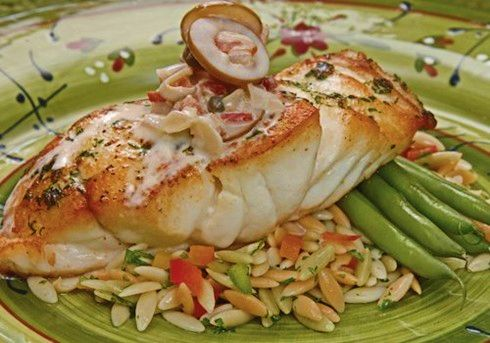Pan Grilled Grouper With Green Olive Cream Sauce Recipe Binder