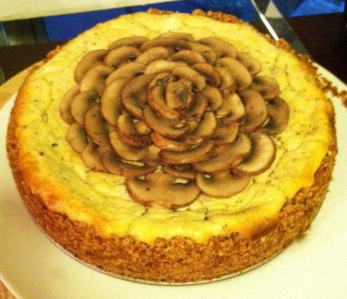 Roland Foods Black Truffle Cheesecake with Crimini Mushroom Garnish