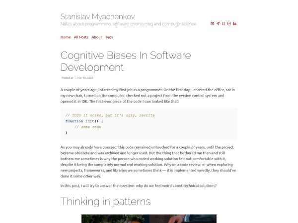screenshot ofCognitive Biases in Software