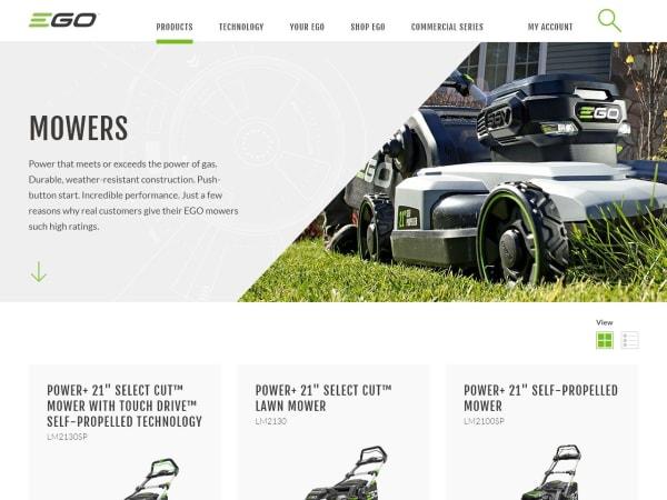 screenshot ofEGO battery-powered lawn gear