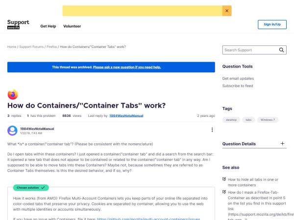 screenshot ofFirefox Containers