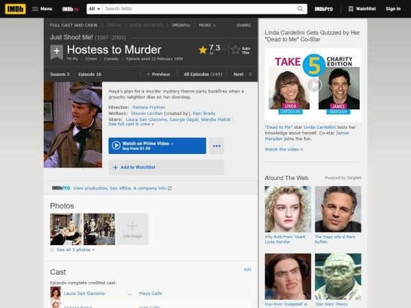 """screenshot ofJust Shoot Me-""""Hostess to Murder"""" episode"""