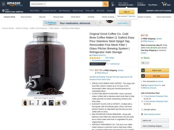 screenshot ofOriginal Grind Coffee Co. Cold Brew Coffee Maker (1 Gallon)