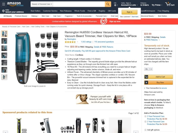 screenshot ofRemington Hc6550 Cordless Vacuum Haircut Kit
