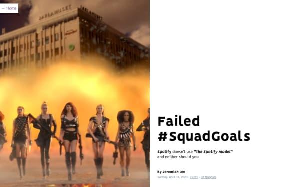 screenshot ofSpotify: Failed SquadGoals