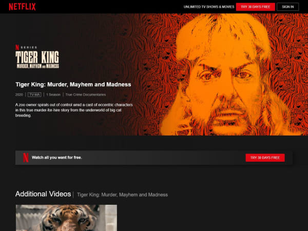 screenshot ofTiger King