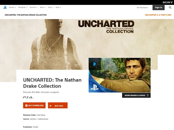 "screenshot of""Uncharted Collection"""