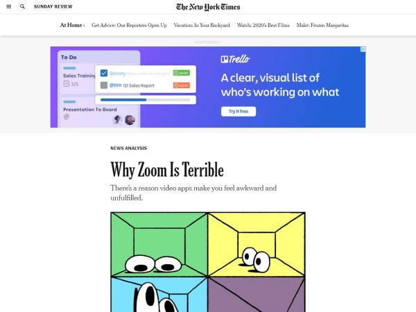 screenshot ofWhy Zoom is Terrible - NYTimes