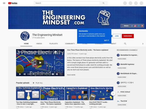 screenshot ofThe Engineering Mindset YouTube Channel