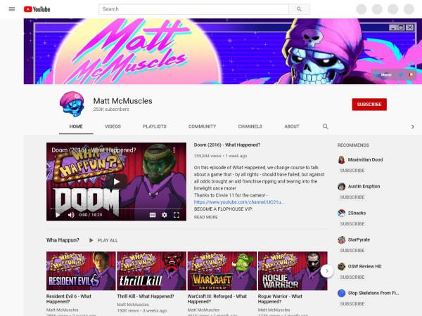 screenshot ofMatt McMuscles YouTube Channel