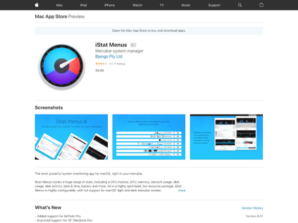 screenshot ofiStat Menus
